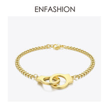ENFASHION Punk Handcuffs Bracelets Bangles Stainless Steel Viking Lock Chain Bracelet For Women Jewelry Couple Gifts BM192013(China)