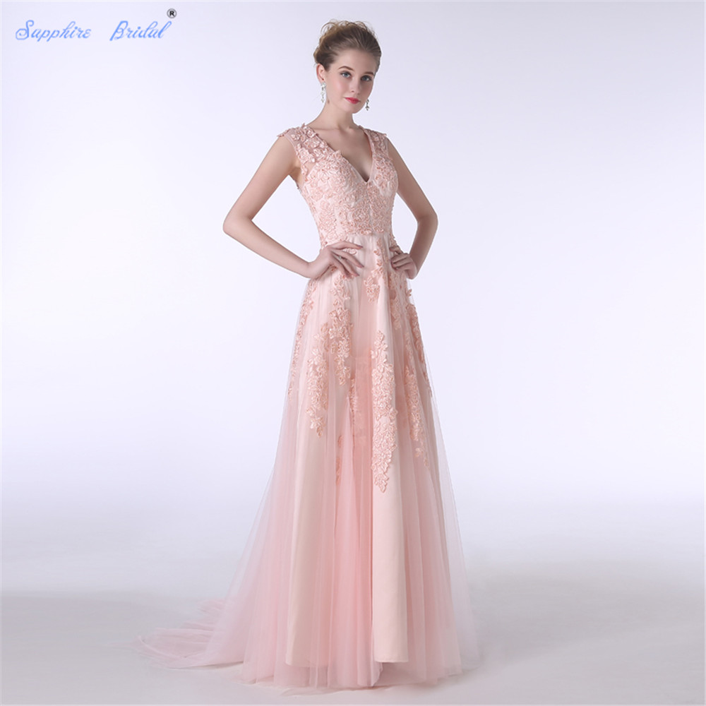 Sapphire Bridal Sexy V Neck Long Formal Lace   Dress   Peach Lace Long A Line   Bridesmaid     Dresses   Hot Sale