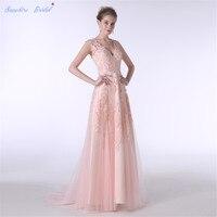 Sapphire Bridal Sexy V Neck Long Formal Lace Dress Peach Lace Long A Line Bridesmaid Dresses Hot Sale