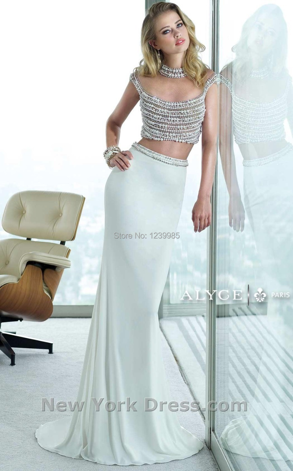 EP253 White Sexy High Neck Cap Sleeve Two Piece Prom Dresses 2016 ...
