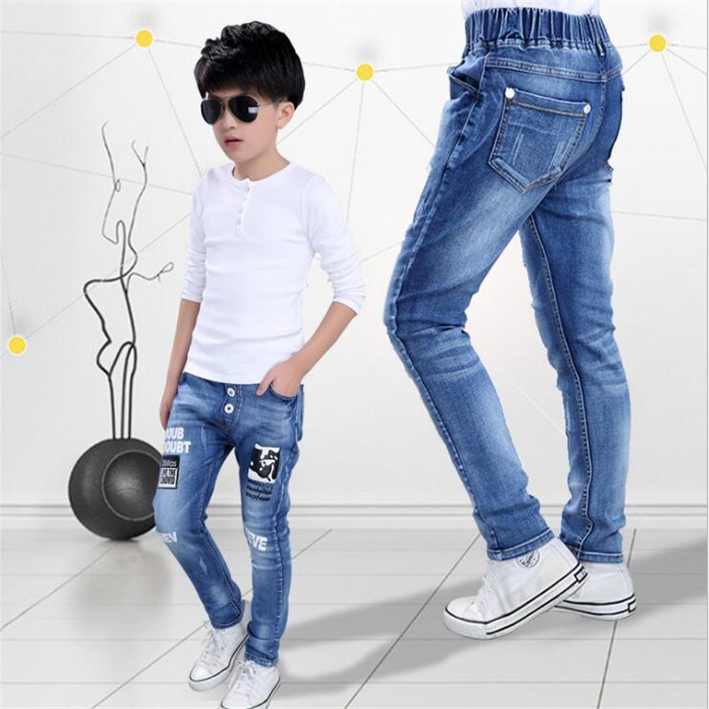 2018 boy jeans Autumn new Cotton bullet in children's trousers children's clothing Casual pants 4-14year high quality high quality mens jeans ripped colorful printed demin pants slim fit straight casual classic hip hop trousers ripped streetwear