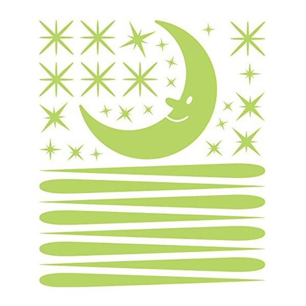 Bedroom Beautiful Fluorescent Glow In The Dark Wall Stickers Moon meteor shower