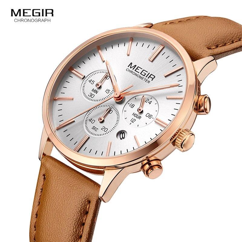 Megir Chronograph Date Indicator Brown Leather Strap Quartz Wrist Watch for Women Ladies Fashion Gold Rose Wristwatch ML2011L-2