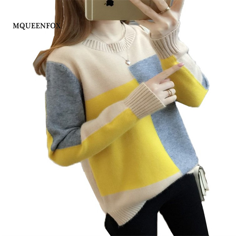 Autumn Winter Women Pullovers Sweater 2019 Long Sleeve Winter Sweater Jumper Warm Loose Contrast Color Knitted Sweater female