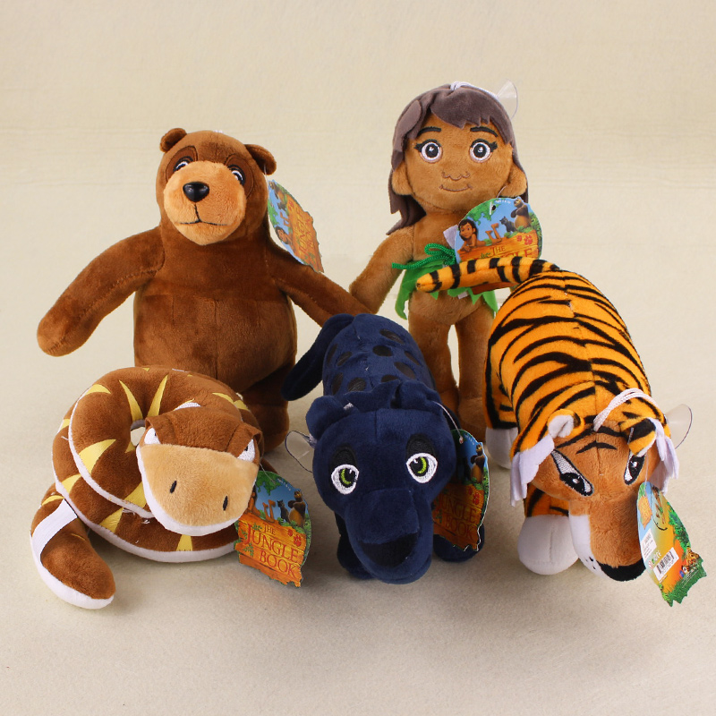 5 styles cosplay The Jungle Book tiger bear snake Plush soft stuffed animals Toys for kids