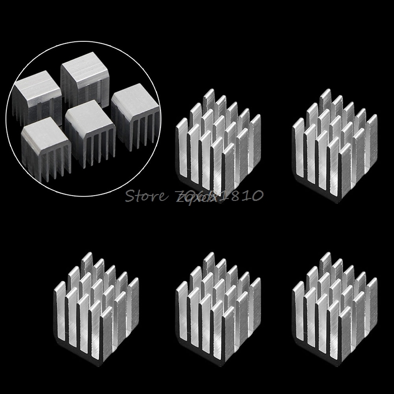 5Pcs 9x9x12MM Aluminum Cooling RAM Radiator Heatsink Cooler Chipset Heat Sink Z09 Drop ship 5pcs lot pure copper broken groove memory mos radiator fin raspberry pi chip notebook radiator 14 14 4 0mm copper heatsink