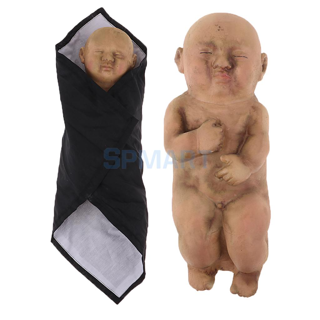 2 Pieces Evil Baby Zombie Doll Scary Nude Sleeping Baby Doll With Blanket Halloween Party Decoration posable skeleton figure halloween decor scary man bone creepy prop party decoration diy toy