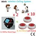 Chamada sem fio Sistema de Pager 433.92 MHZ Pager Restaurante Set Com Receptor Relógio E Botão À Prova D' Água (2 + 10 relógio botão)
