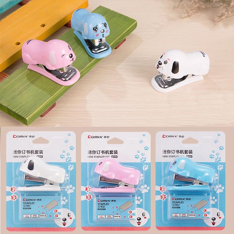 Mini Dog Stapler Puppy Cartoon No. 12 Silver Staples Set Mini Grapadora Papelaria Stationery Office Accessories School Supplies