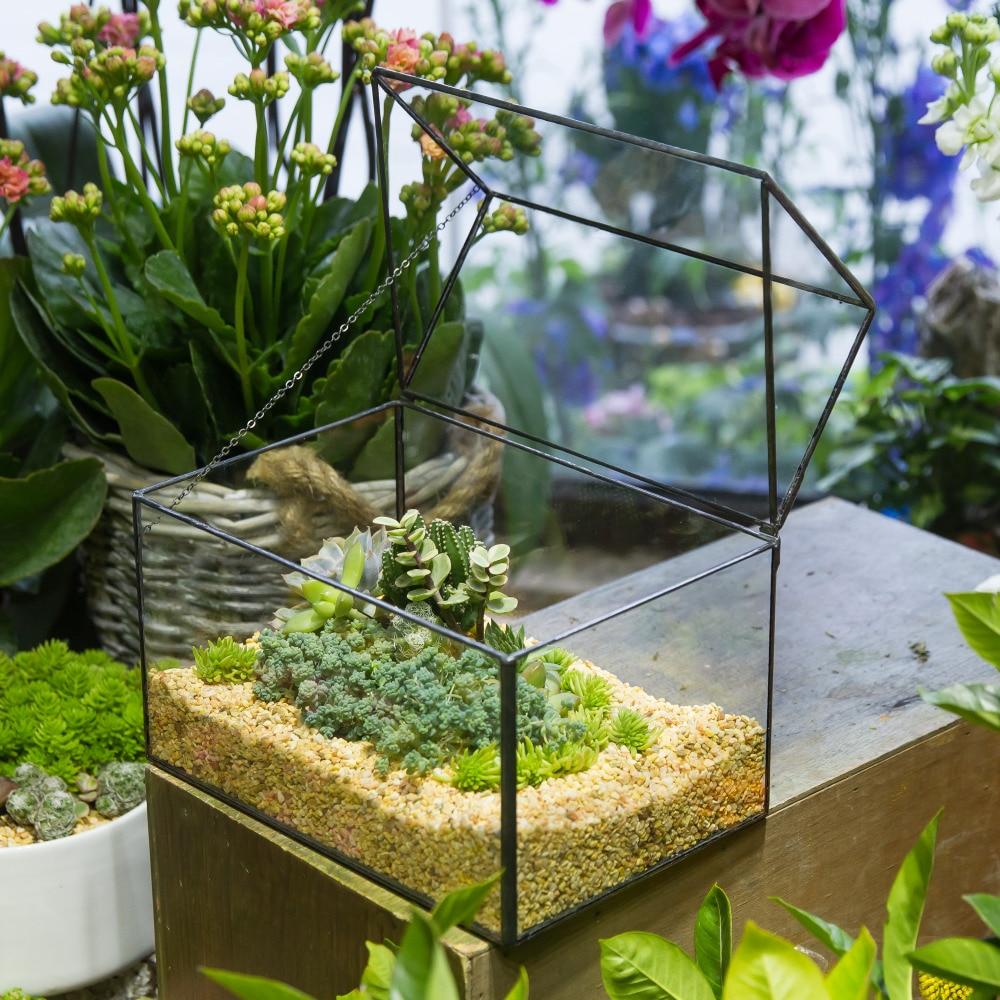 Ժամանակակից ձեռքի տների ապակու երկրաչափական տեռարի պլանշետ Succulent Fern Moss Plant Box Planter Ընտանի կենդանիների ցուցադրում ծաղկամանով ծածկով