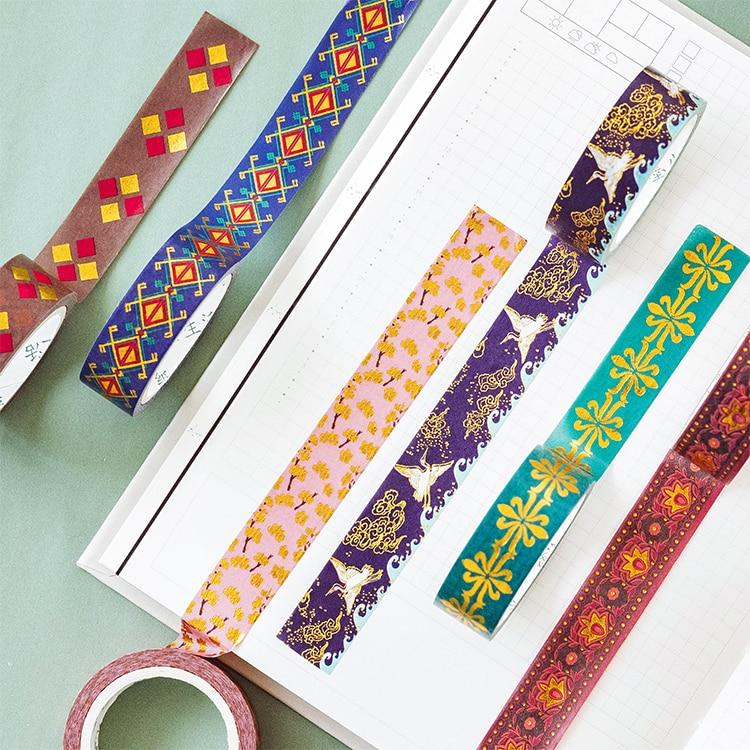 Gothic Geometry Gilding Washi Tape Adhesive Tape Diy Scrapbooking Sticker Label Masking Tape Student Stationery Gift