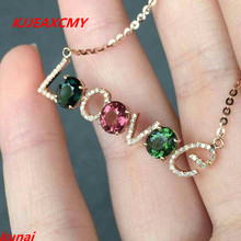 KJJEAXCMY fine jewelry s925 silver color jewelry natural South pendants to send a necklace tourmaline natural quality goods color ice stone bracelet send certificates send jewelry box