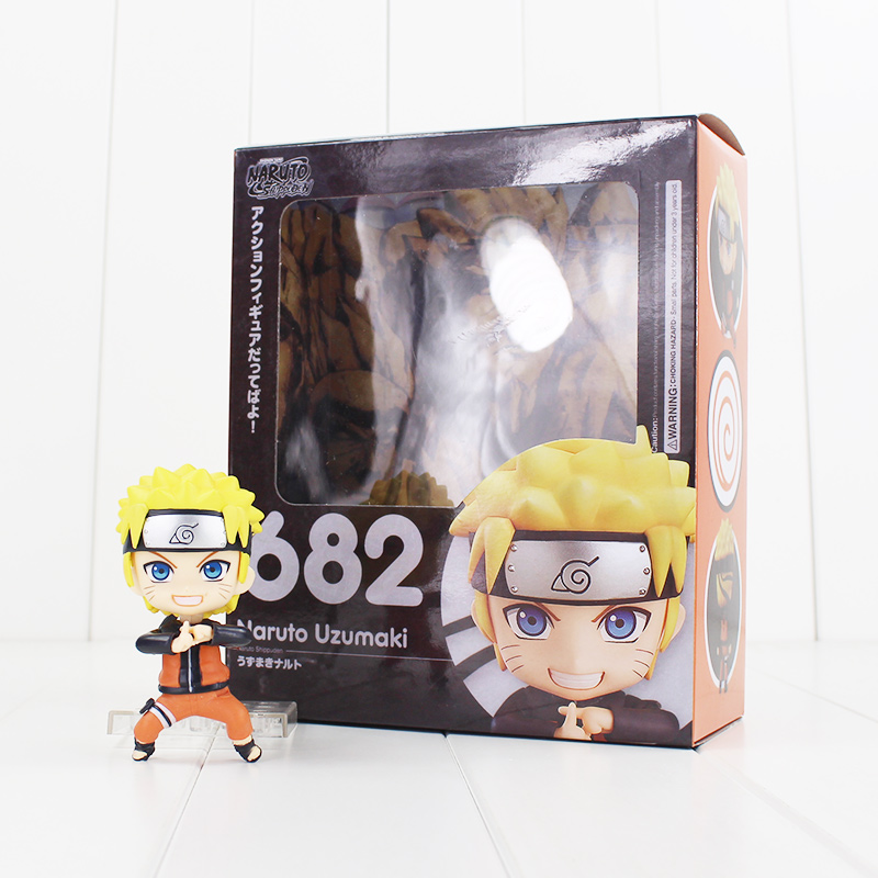 10cm Nendoroid Naruto Uzumaki Figure Toy Change Faces Naruto 682 Collectible Model Doll for Kids nendoroid super mario bros figure toy mario 473 luigi 393 with toad mushroom goomba ghost bullet great model doll for kids