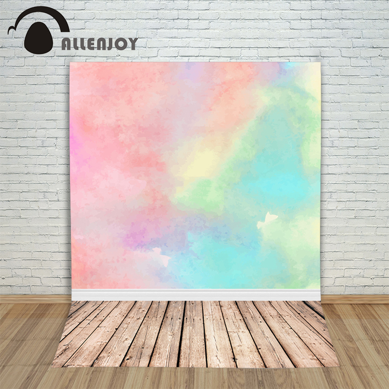 Allenjoy photography backdrops Gouache painting pink blue beautiful art wood Photo background new Year for photo shoots