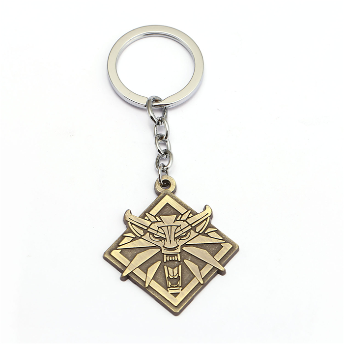 Game Jewelry The Witcher 3 Wild Hunt Keychain Wolf Key Ring Holder Metal Fashion Car Bag Chaveiro Key Chain