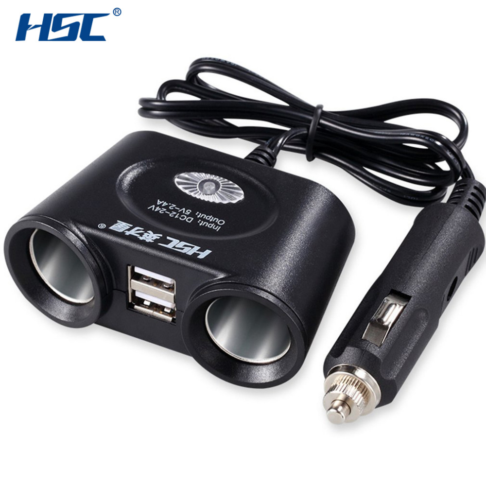 HSC HSC 101 Dual USB Ports Car Charger One Drag Two Car Cigarette Lighter Two Socket