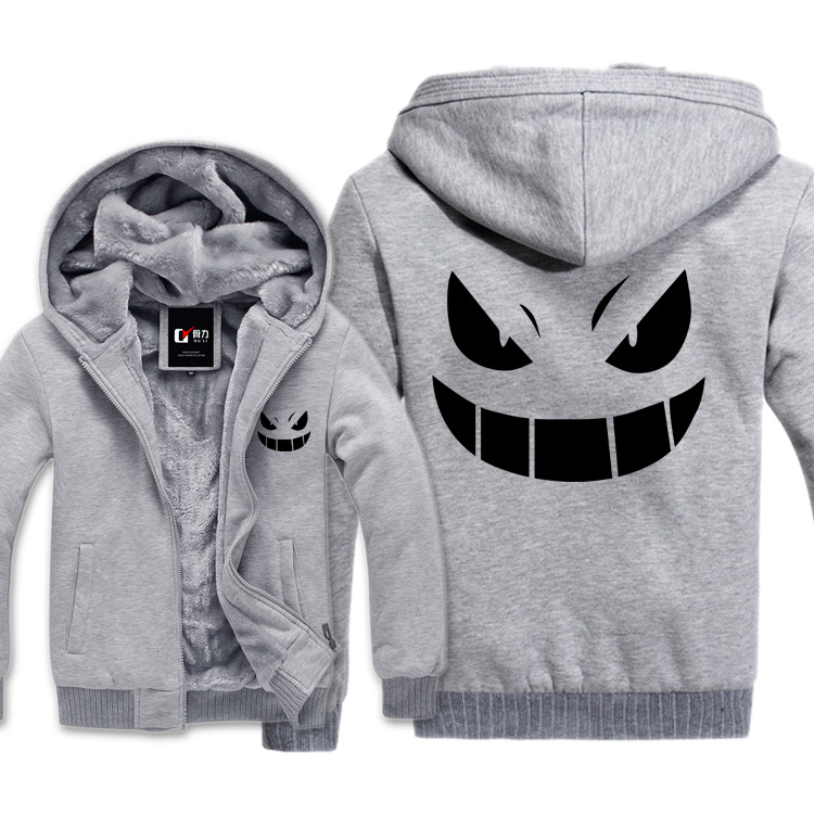US $38.45 |Gorąca Gengar Pokemon Go grymas bluzy z kapturem bluza męska Casual męskie kurtki z kapturem płaszcz szal mężczyźni tkaniny ciepłe w Bluzy