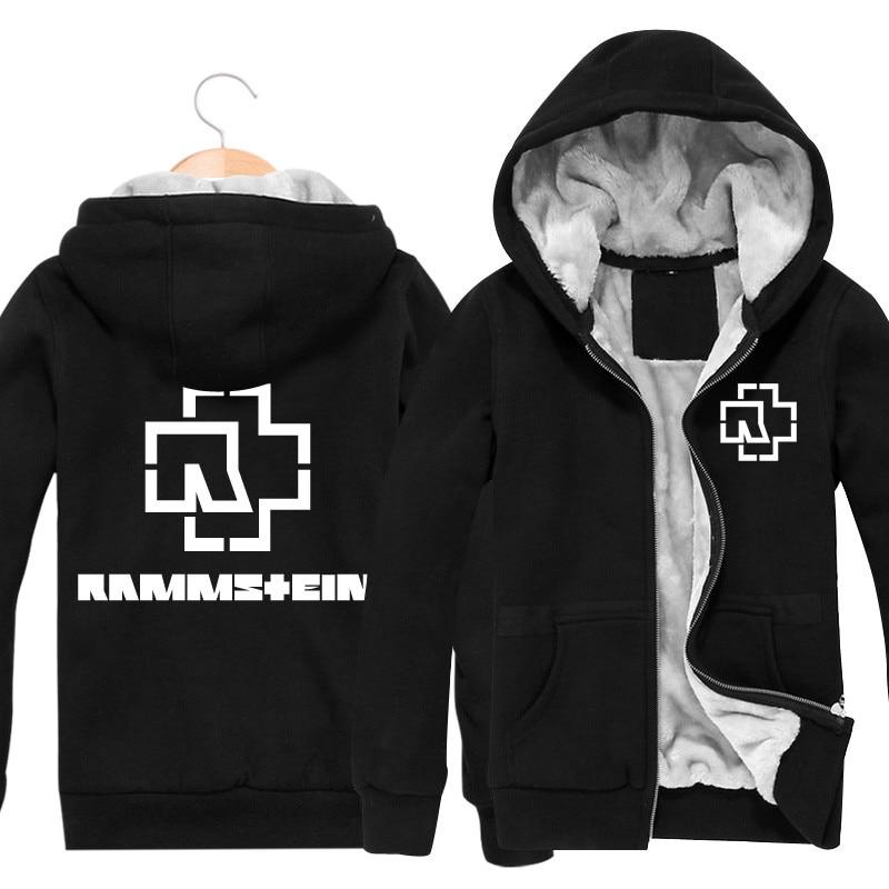Rammstein Rock Band Hot Winter Mens Hoodies And Sweatshirts Cardigan Thickening Plus Velvet Jacket Men Punk Punk Coat Men