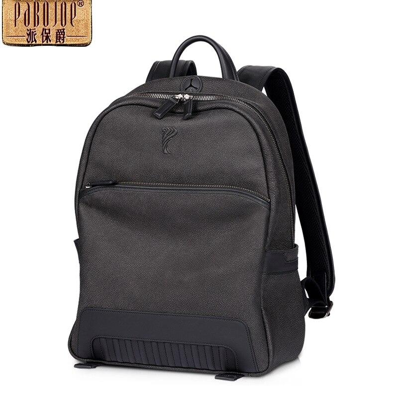 все цены на  pabojoe brand 2017 new 100% cowhide leather backpack men fashion Genuine Leather mochila travel shoulders package free shipping  онлайн