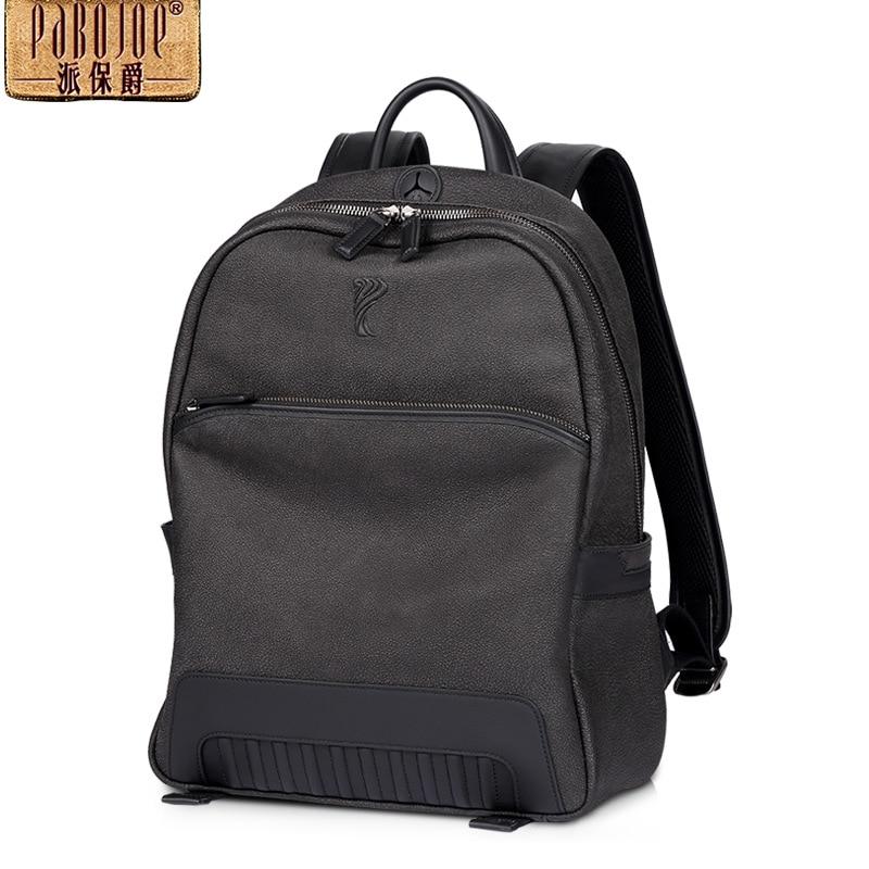 pabojoe brand 2018 new 100% cowhide leather backpack men fashion Genuine Leather mochila travel shoulders package free shipping pabojoe brand 100