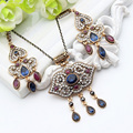 Hot Sale Vintage Turkish Jewelry Sets Antique Crystal Necklace & Earrings Women Arabesque Ethnic Engagement Party Festival Gift