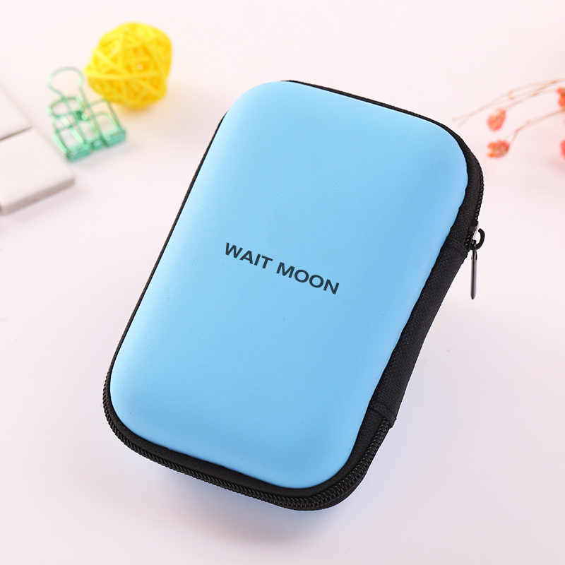 PU+EVA Blue Coin Purse Pouch Case Bag Mini Storage Box Square Data Cable Storage Finish Hard Shell Holder Case Container Earphon eva protective hard case shell travel carrying game console storage bag holder pouch for nintend switch console with hand strap