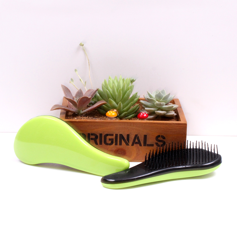 Fast Shipping Fashion Magic Detangling Handle Tangle Shower Hair Brush Comb Salon Styling Tamer Tool Green Comb BO