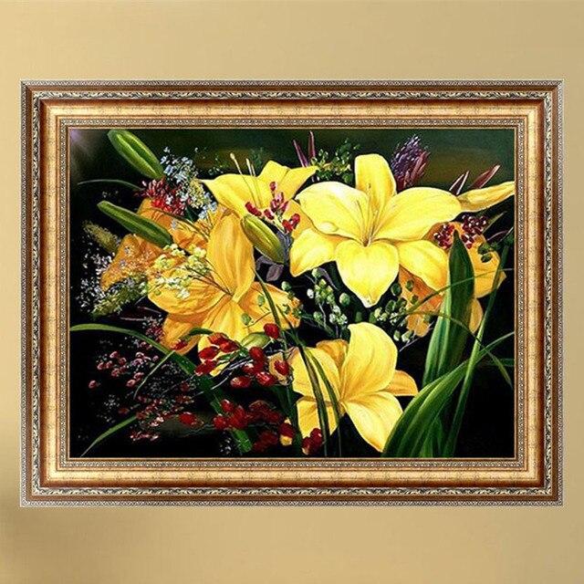 5D DIY Алмаз Вышивка Живопись Желтый Цветок Зеленые Листья Вышивки Крестом Рукоделие Мозаика Куб Home Decor berlian bordir