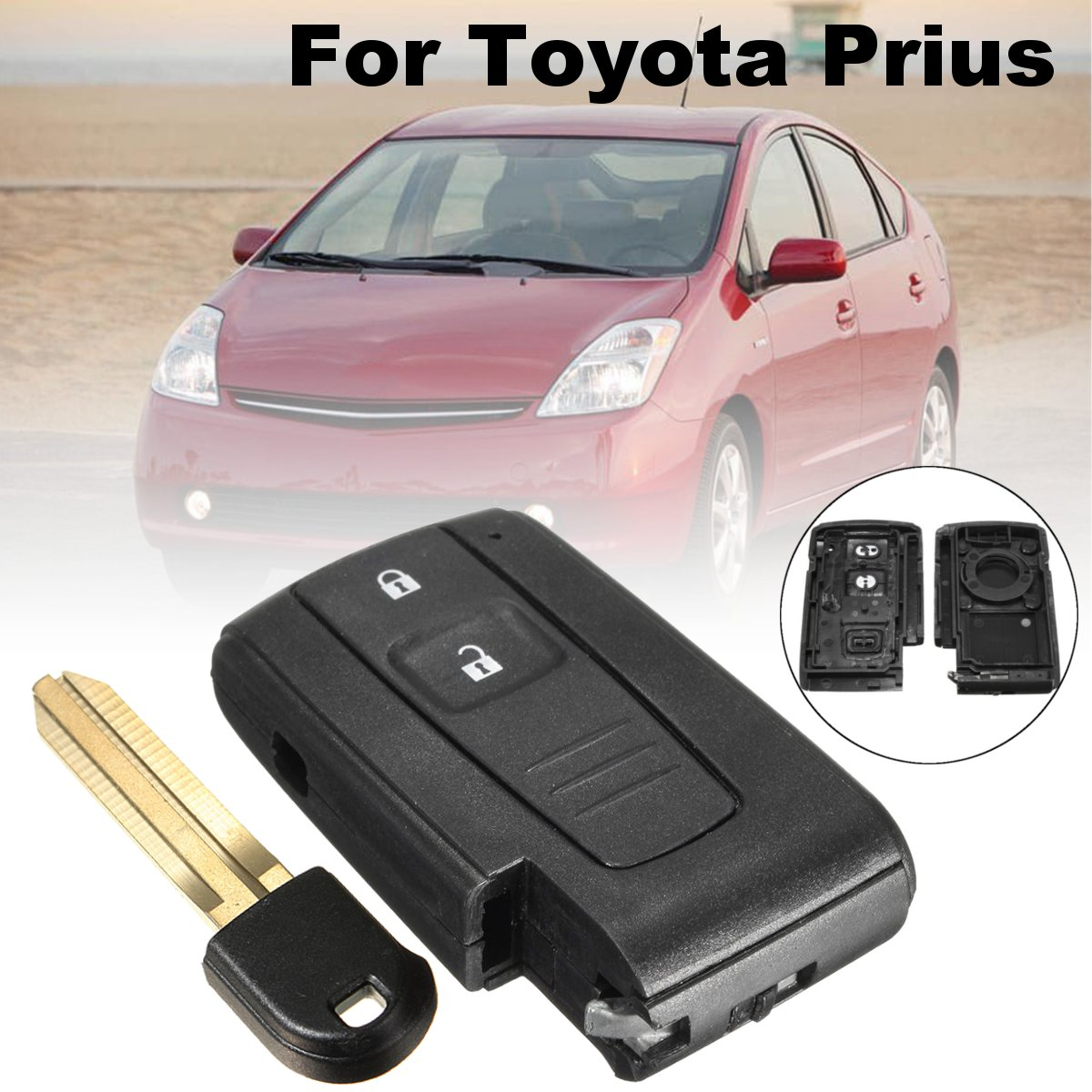 2 Button Car Smart Keyless Remote Key Case Shell with Toy43 Blade For Toyota <font><b>Prius</b></font> 2004 <font><b>2005</b></font> 2006 2007 2008 2009 #MOZB31EG image