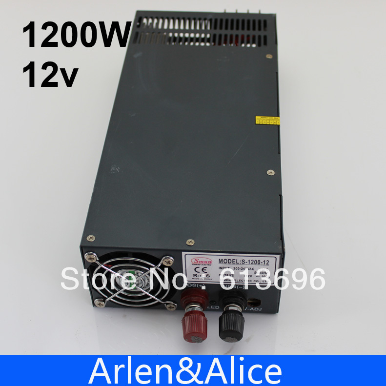 1200W 12V 100A adjustable 110V input  Single Output Switching power supply for LED Strip light AC to DC 1200w 15v adjustable 220v input single output switching power supply for led strip light ac to dc
