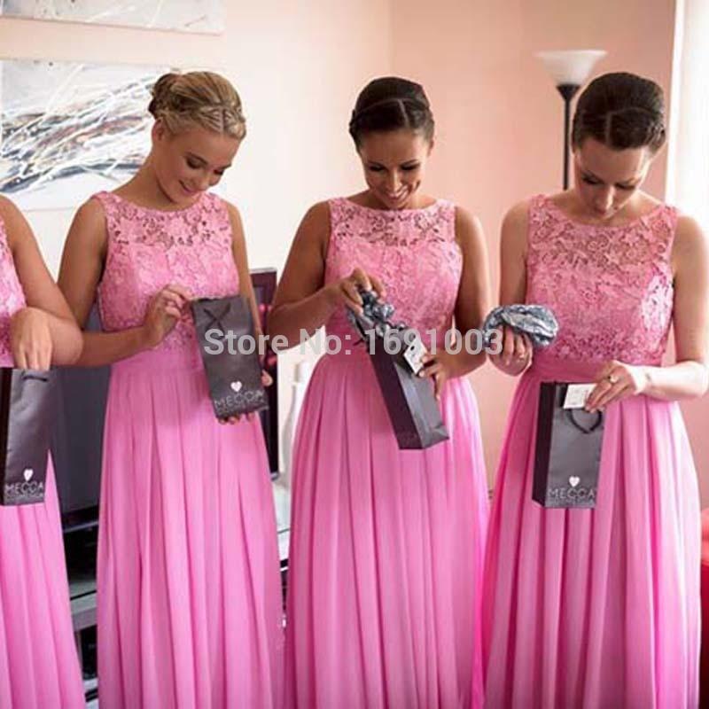 Vestido madrinha New Fashion   Bridesmaid     Dresses   2017 Scoop Neck Sleeveless A-Line Floor Length Chiffon Party Prom   Dresses