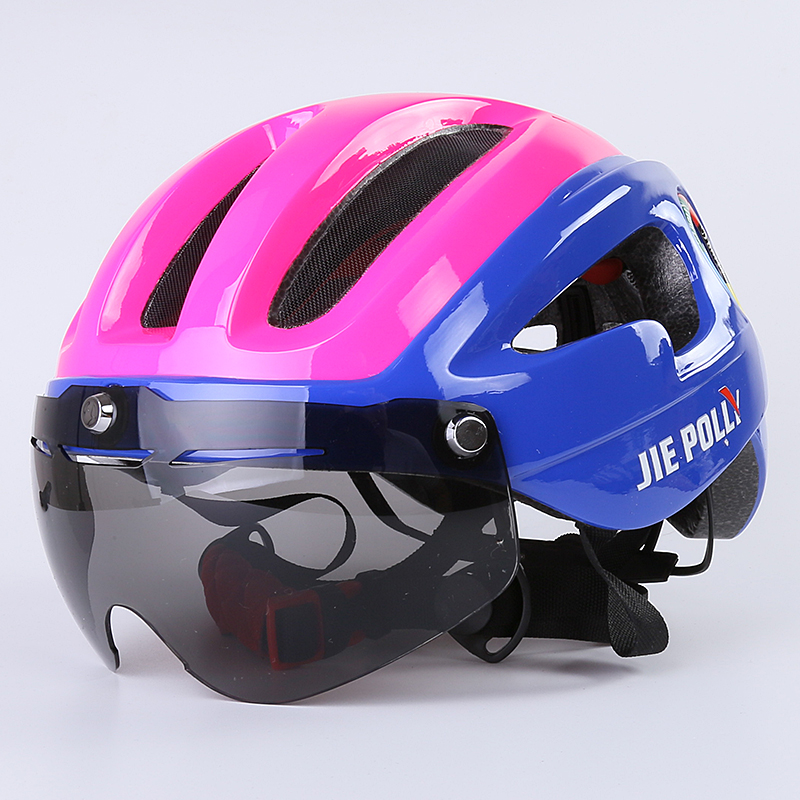 Jiepolly Bicycle Cycling Helmet Magnetic Visor Glasses Ultralight Integrally-molded Bicycle Helmet Women Kids Safety Helmet topeak outdoor sports cycling photochromic sun glasses bicycle sunglasses mtb nxt lenses glasses eyewear goggles 3 colors