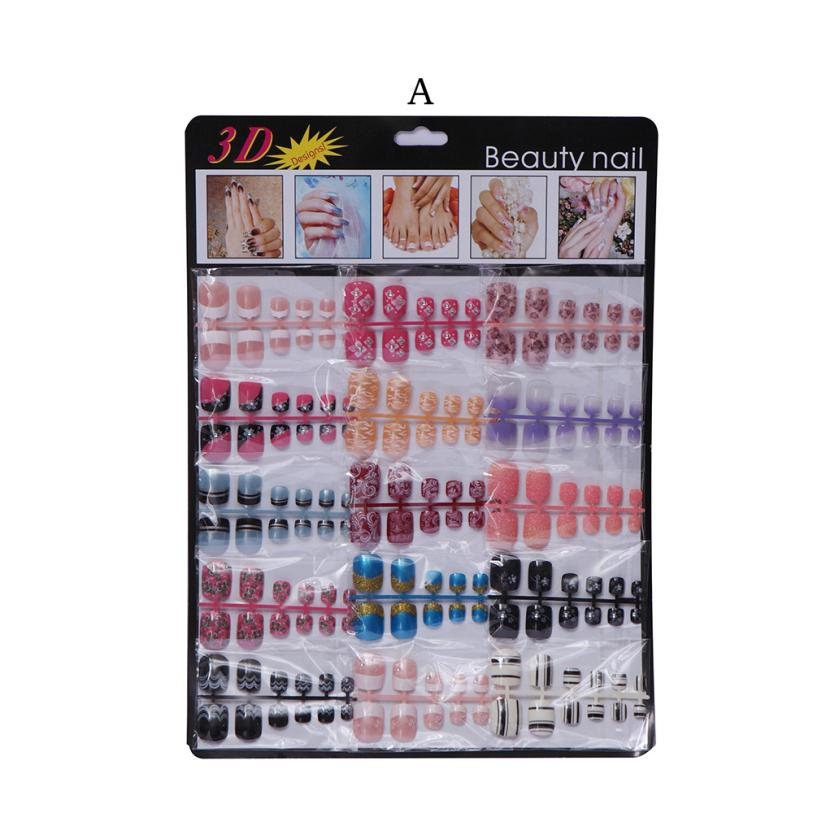 180pcs Mixed Set False Nail Tips for Toe Artificial Fake Nails Art Acrylic Manicure Gel Nail Art Drop shipping Wholesale #F 24 pcs hot sale golden rivet splicing nail art fake toe nails