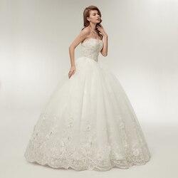 Fansmile 2019 Elegant Luxury Lace Wedding Dress Vintage Ball Gowns Vestido De Noiva Plus Size Customized FSM-502F 2