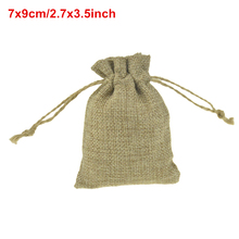 Faux jute burlap Mini Drawstring Bags For Jewelry wedding Favor /handmade soap 100pcs 7x9cm/2.7×3.5inch Custom logo or size