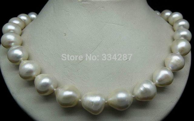 100% Venta de Imagen completa Enorme 11-12 MM collar de perlas (NATURAL FORMA OVAL)