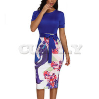 Cuerly Professional Women Elegant Casual Work Business Office Classic O neck Neck belt Printing Patchwork Bodycon Pencil Dress