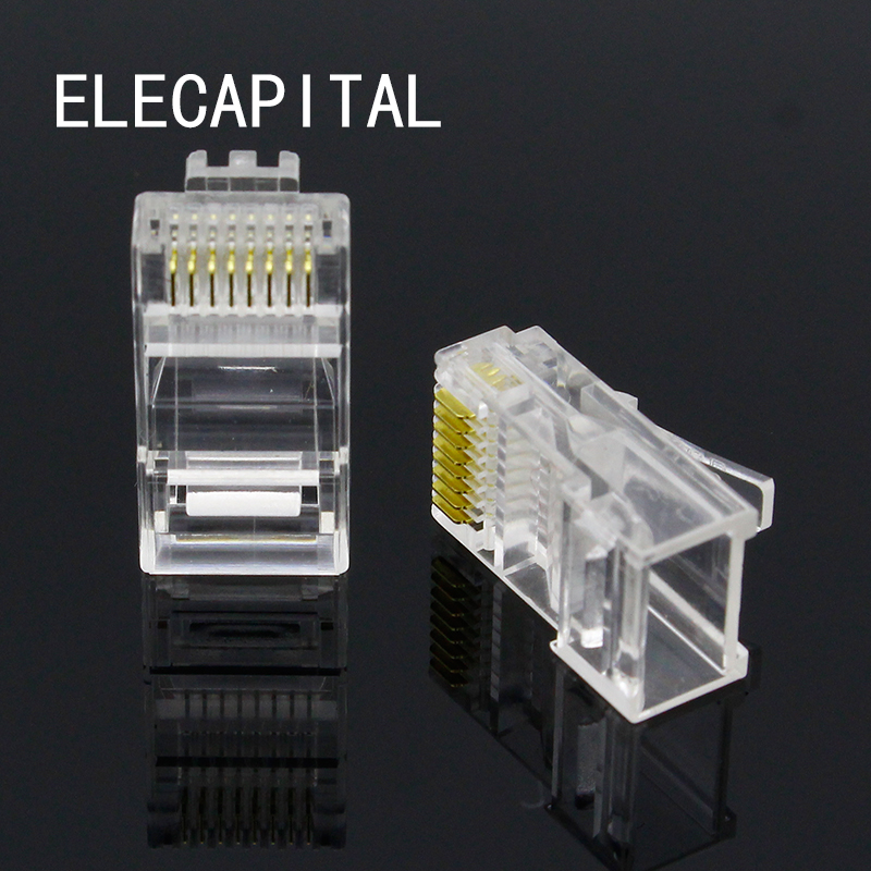 Free Shipping Brand New 100PCS Crystal Head RJ45 CAT5 CAT5E Modular Plug Gold Plated Network Connect