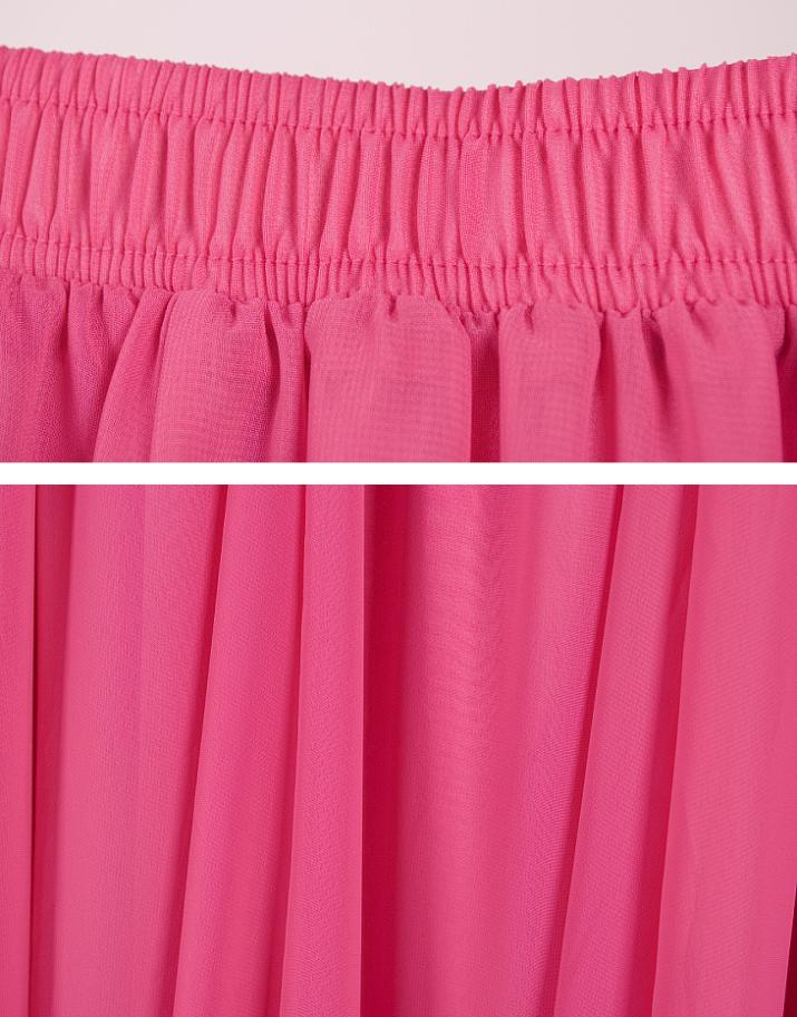 Plus Size Long Skirt Elegant Style Women Pleated Maxi Chiffon Skirts - Pakaian wanita - Foto 6