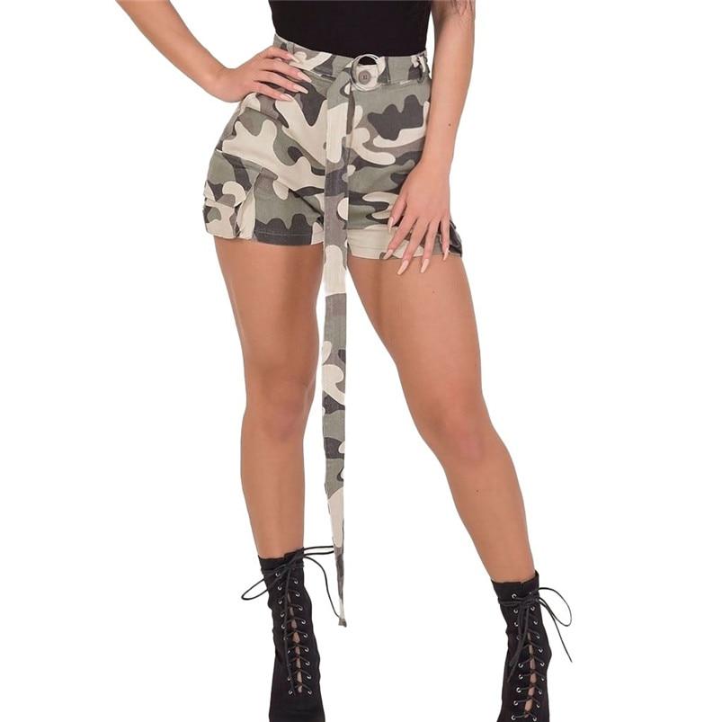 Shorts S-3xl Women Slim High Waist Belt Camouflage Shorts Loose Shorts Fashion Summer Short Pant Shorts Daily 35ap10 Carefully Selected Materials