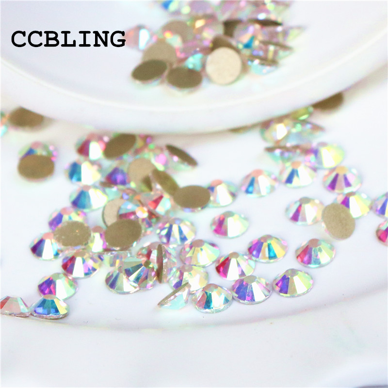 CCBLING Super Shiny SS3-ss40 Bag Gold Foiling Crystal AB color 3D Non HotFix FlatBack Nail Art Decorations Flatback Rhinestones super shiny 1440pcs ss8 2 3 2 4mm clear ab glitter non hotfix crystal ab color 3d nail art decorations flatback rhinestones 8ss