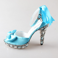 Handmade light sky baby blue D'orsay peep open toe woman bridal shoes sewn crystal wedding party Valentine pumps heels ribbon