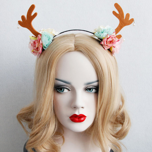 halloween hair accessories forest small butterfly elkhorn flower crown headband for women christmas eve party hairband