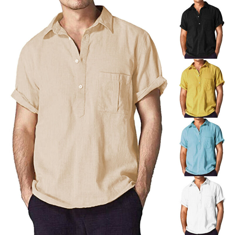 2019 Casual Men's Summer Slim Fit Short Sleeve Muscle Tee Linen Shirt Quality Solid Tops Blouse Size M-XXXL