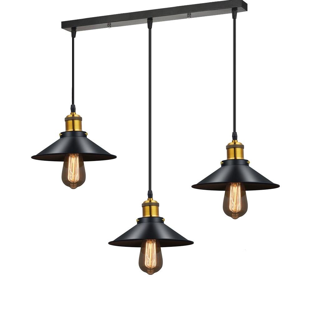 Lámpara de araña moderna LED Lustre Metal negro candelabros de techo lámpara colgante de comedor de luz Vintage para restaurante de Bar en casa