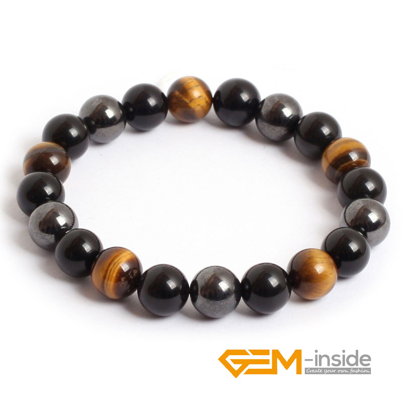 10mm Natürliche Stein Armband (tiger eye hämatit obsidian) für Frauen Männer Mode Weihnachten Geburtstag Liebe Präsentieren Geschenk Edelstein-innen