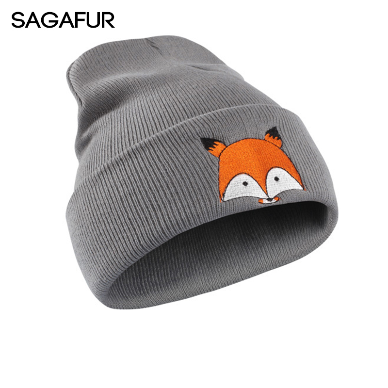 SAGAFUR Women Men Winter Caps Cartoon Fox Embroidery Cotton Skullies Beanies Brand New 2017 High Quality Hat Female Caps #MZ762