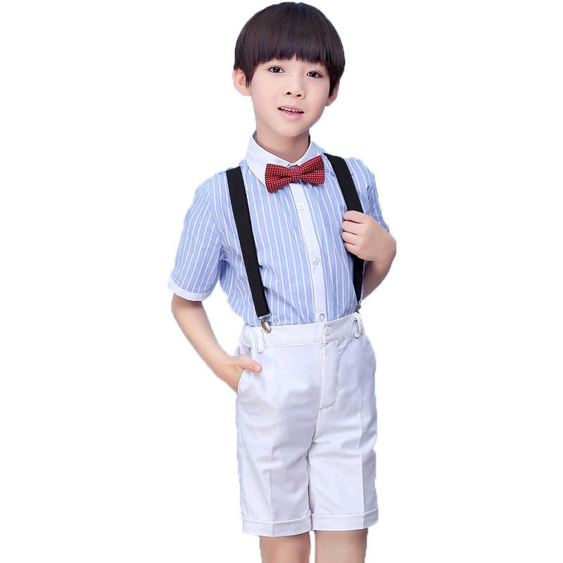 830213f17 ... Flower Boys Formal Wedding clothes set childs shirt suspender shorts tie  4Pcs student clothing party dress ...