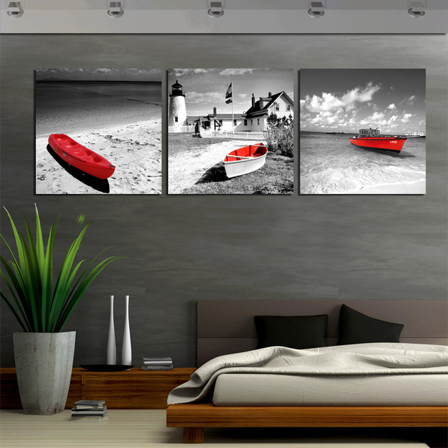 3 Piece Wall Art Seascape Beach Painting On Canvas Prints Red Boat  Decorative Wall Pictures For