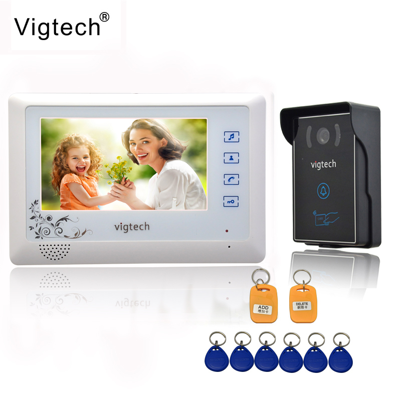 Vigtech Home 7`` LCD Video Door Phone intercom System Kit 700TVL RFID Waterproof IR Night vision Camera free shipping vigtech home 7 lcd video door phone intercom system kit 700tvl rfid waterproof ir night vision camera free shipping